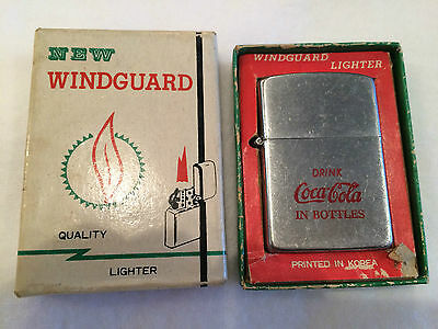 Vintage Coca Cola Windguard Lighter UNSTRUCK Cigarette Cigar Coke MINT UNUSED