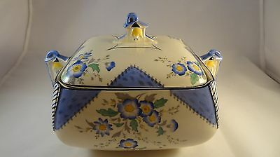 Burleigh Ware Art Deco Blue Maytime Lidded Vegetable Tureen Serving Dish VGC