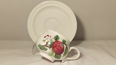 Portmeirion Pomona Romantic Shape Cup and Saucer The Hoary Morning Apple Design