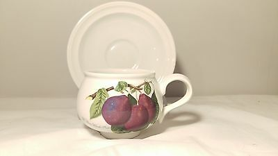 Portmeirion Pomona Romantic Shape Cup and Saucer Plum Design