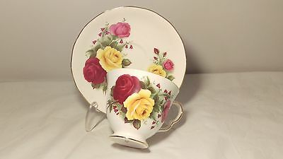 Queen Anne Yellow Pink and Red Cabbage Roses Cup and Saucer Set