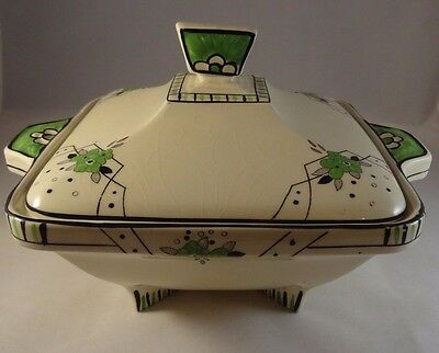 "Burleigh Ware Art Deco 7"" Square Biarritz Pattern Lidded Tureen Serving Dish VGC"
