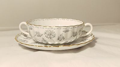 Copeland Spode Colonel Gray Gold Y7144 Cream Soup Cup & Saucer (s)