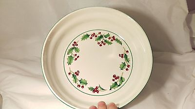 """Sango White Christmas Holly and Berries 9"""" Round Open Vegetable Bowl"""