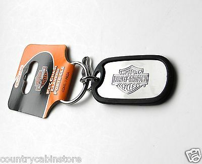 Harley Davidson Metal Dog tag style with rubber Key Ring Keychain Chain 3 inches