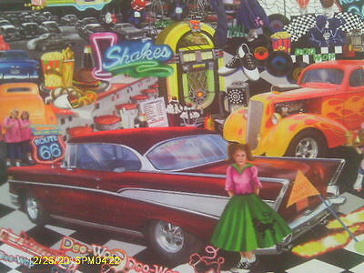 """1000+ Piece Puzzle """"Doo-Wop"""" 1950s Nostalgia Drive-Ins Hot Rods Diners Route 66"""
