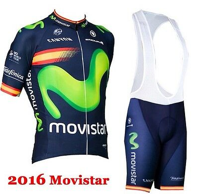 NEW TEAM MOVISTAR Short Sleeve Cycling Jersey With Bib Shorts