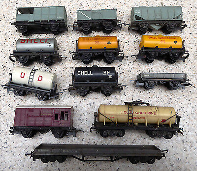 Job lot of 12 Tri-ang TT gauge (3mm scale) goods rolling stock (all unboxed)