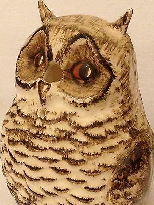 Antique Vintage Hand Painted Porcelain Owl Sewing Knitting Thread Wool Dispenser