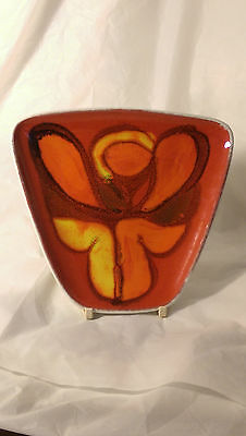 Poole Art Pottery Delphis 81 Pin Trinket Dish Abstract Angel? Red Yellow Orange