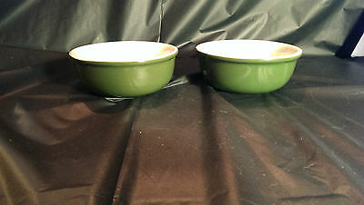 "Pair of Hall USA Green Custard 413 Cups 4 3/8"" in Diameter - Mint Condition 413"