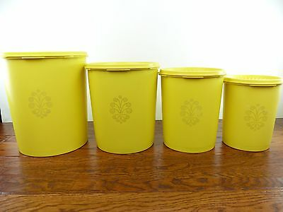Set of 4 Vintage Tupperware Canisters With Lids Yellow Free Shipping Within USA!