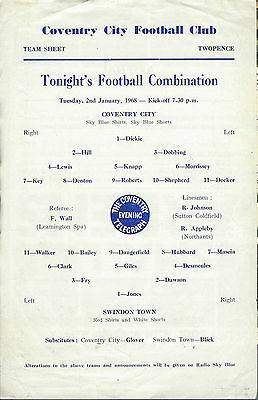COVENTRY CITY RESERVES v SWINDON TOWN 67-8 Football Combination  Programme