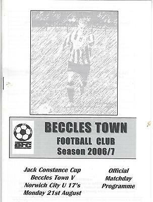 BECCLES TOWN  v NORWICH CITY U 17's 06-7 Jack Constance Cup Friendly Programme