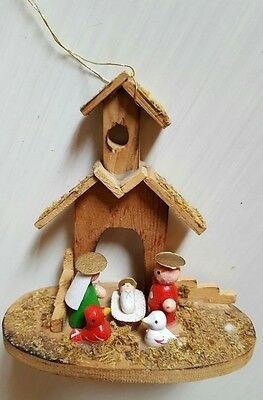 Vintage Christmas Tree Ornament wooden Nativity scene religious