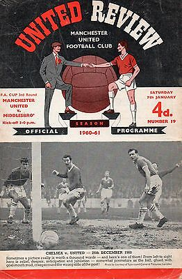 Jan 61 Manchester United v Middlesbrough FA Cup 3rd Rd