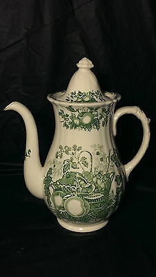 Masons Fruit Basket Green Large Coffee Pot with Chips and Crazing