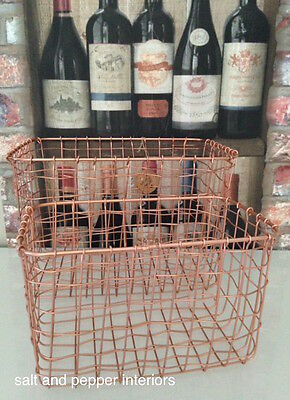 Copper Wire Metal Storage Basket Crate Rectangle Two Sizes