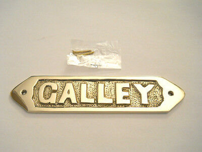 Nautical Maritime Decor. Solid Brass Galley Door Sign Or Plaque Wall Hanging New