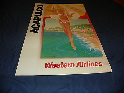 """Vintage Western Airline Travel Poster Acapulco 24""""x37"""""""