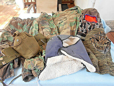 Lot Of Military Clothing, Hats, Canteen, Patches & Pins