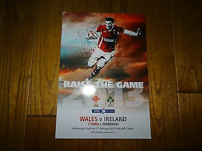 WALES v IRELAND 2nd FEBRUARY 2013 OFFICIAL MATCH PROGRAMME