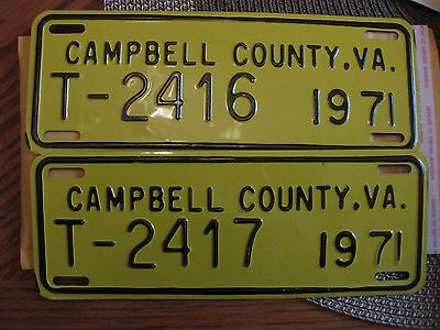 TWO    971 Campbell County Virginia. VA, License Plate Black On Yellow 3X8 NOS