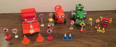 Bob The Builder Toys 3 X Friction Vehicles, Figures, Cones Etc - All In VGC