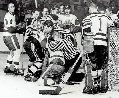 1959 Wire Photo hockey fight between Detroit Red Wings & Boston Bruins players