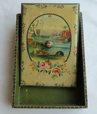 Antique French Hand Painted Wood Stationery Tray/box