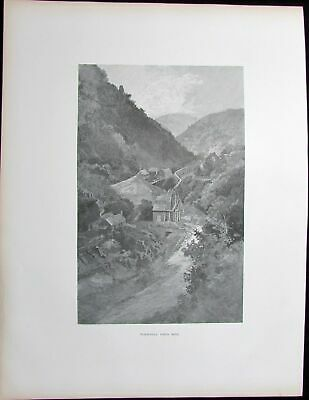 Walhalla Gold Mine view Victoria Australia 1888 antique print large scarce fine