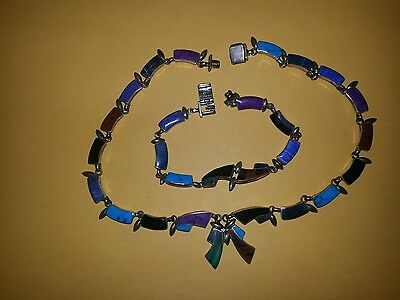 Sterling Silver multi-color inlaid necklace & bracelet set Mexico 950 TESTED