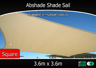 Abshade Shade Sail Square 3.6m x 3.6m in multiple colours