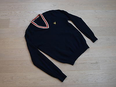 Lyle and Scott vintage V neck jumper L blue mega stylish soft virgin wool