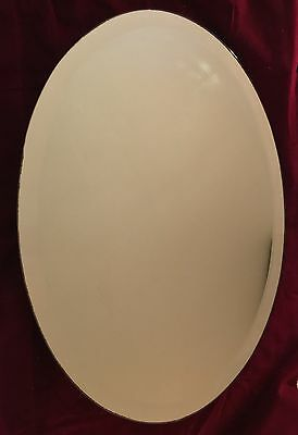 Antique Oval Frameless Mirror Bevelled Art Deco Style