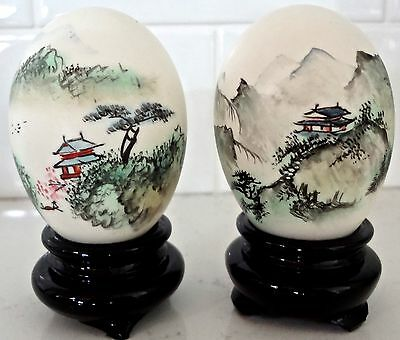 Pair Vintage Chinese Hand-Painted Eggs Signed with Stands