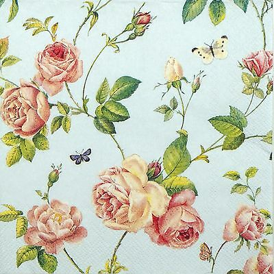 4 Single Table Party Paper Napkins for Decoupage Decopatch Craft Rambling Rose
