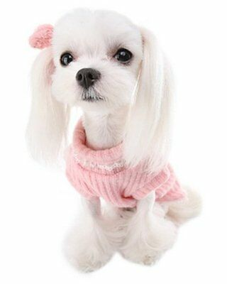 Puppy Angel Big Ribbon Bow Pink Pullover Jumper Sweater Large