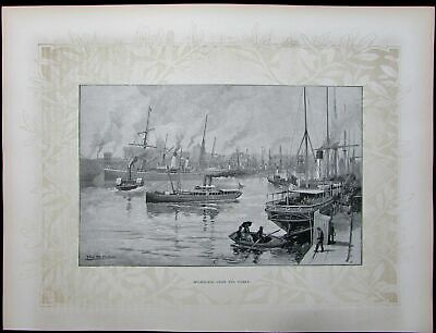Melbourne from Yarra harbor ships city view Australia 1888 antique print large