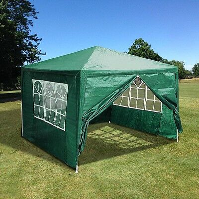 10'x10' Outdoor Canopy Party Wedding Tent Green Pavilion w/4 Side Walls