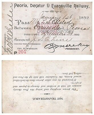 1892 Peoria Decatur & Evansville ORIGINAL VINTAGE Railroad PASS