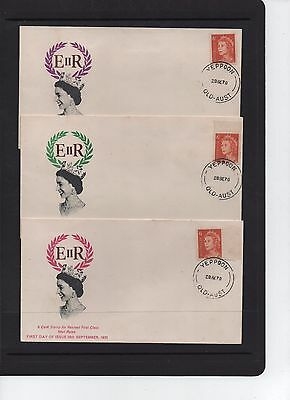 1970 Queen Elizabeth II Set of 3 First Day Covers Yeppoon QLD Cancel