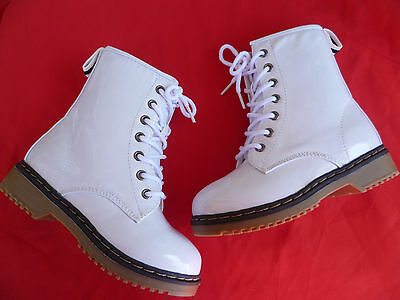 WHITE MILITARY TODDLER BABY GIRLS BOOTS SIZE 4-8