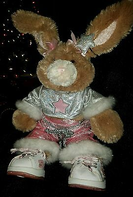 "Build-a-bear 16"" Tan Bunny with wired Ears and Outfit"