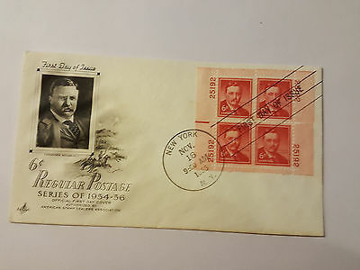 Original President Theodore Roosevelt Multi Stamped FDC Historic and Rare