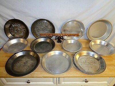 18 Vintage Pie Pans 1950-70 - Stamped Tin & Aluminum - 11 Different Makers - USA