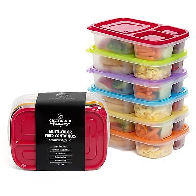 California Home Goods 3-Compartment Reusable Bento Lunch Box for Kids