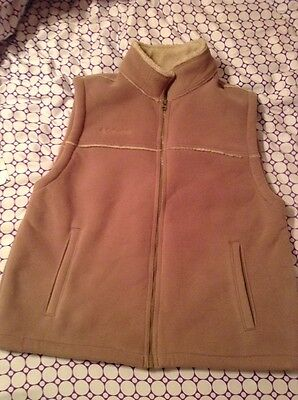 COLUMBIA •Mens XL • Sandy Beige Full Zip Front Fleece Mock Neck Vest