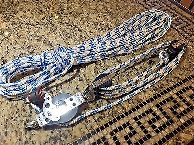"Harken 7:1 Hexa-Ratchet Main Sheet, Vang, Block And Tackle W/65' New 3/8"" Line"