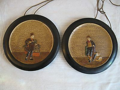 PAIR BRETBY DICKENS ROUND WALL PLAQUES SAM WELLER&MICAWBER C.1900s